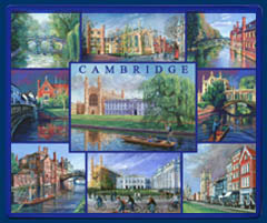 Mouse mat of Cambridge - King's College, Clare Bridge, Trinity Street, Queens', St John's, King's Parade, Senate House and Magdalene