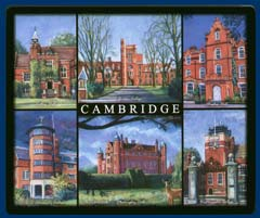 Mouse mat of Cambridge - Ridley Hall, Girton College, Hughes Hall, St Edmunds College, Madingley Hall and Westminster College