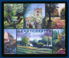 Mouse mat of Grantchester, Cambridgeshire. Featuring the Orchard, Grantchester Church, the Millpond, Grantchester Meadows and punting on the Cam.