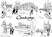 Cambridge line drawings postcard