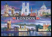 London at Night postcard